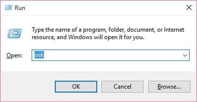 run dialogue box to open on screen keyboard