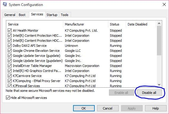 system configuration to reduce run time services