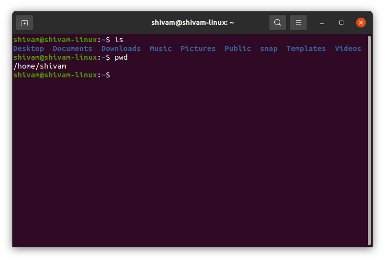 basic command for linux pwd and ls