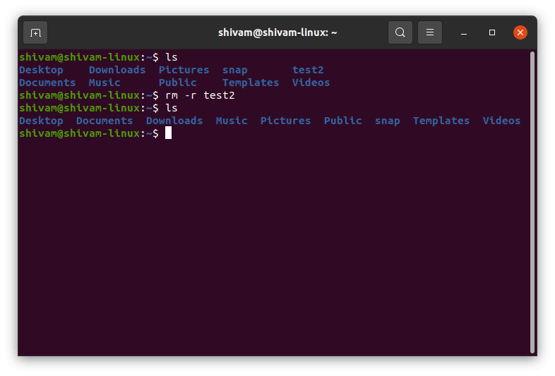 this command is used to delete the folder.