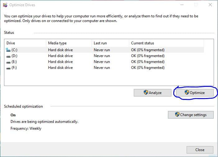 defragment and optimize system drive c to speed up windows 10-min
