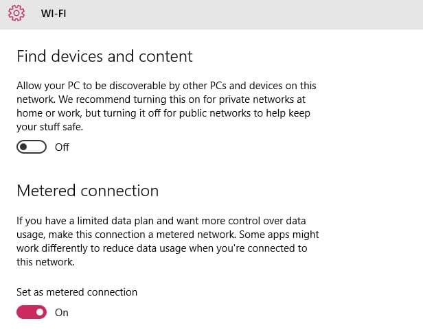 reduce data usages on windows 10 set metered connection