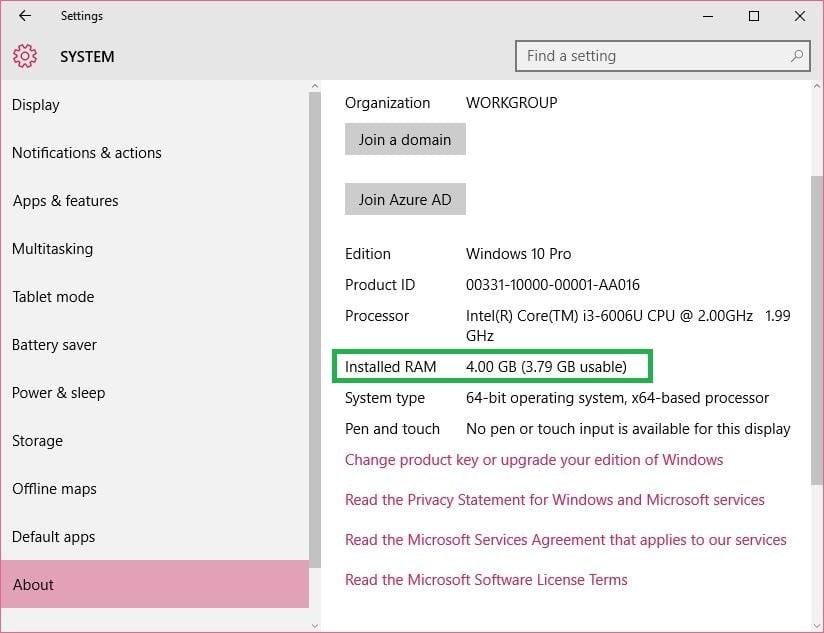 Check RAM capacity in windows 10